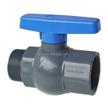 ERA Pipe Fittings PVC Male thread ball valve With Blue Handle,Slip *thread end,M/F