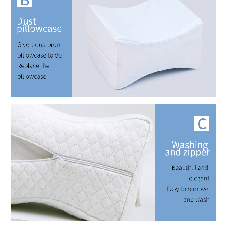 Cooling Gel infused Memory Foam Knee Pillow for Side Sleepers