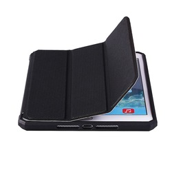 leather flip cover case for ipad mini 1 2 transparent PC back tpu edge frame with the function of stand and automatic dormancy
