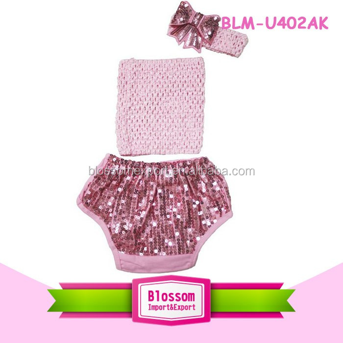 Girl shorts new boutique wholesale bloomer sweet print panties spandex diaper cover sparkle baby boys sequin bloomers wrap set