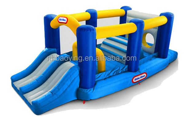 New Colorful Attractive Blue Indoor Inflatable Castle, Inflatable Jumper for Wild Kids with Windows, Durable PVC Material