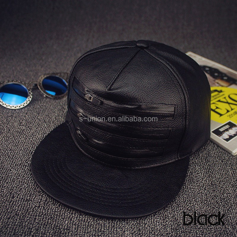 5 panel PU snapback leather caps zips on front hip hop hats for girls and boys