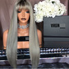 Very beautiful virgin hair grey long straight human hair wigs with bangs