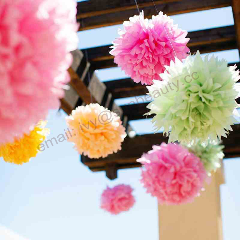 Pom pom garland paper tissue cheerleader pompom hanging party decoration