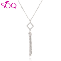 Bohemian Women Statement Jewelry Stainless Steel Tassel Square Necklace for Women Jewelry Gift