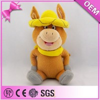 Wearing hat factory custom funny stuffed cartoon cow doll, plush cow toy