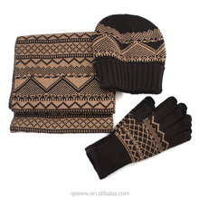 Yhao High quality useful winter scarf hat gloves set Winter set wholesale
