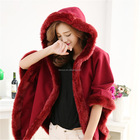 double-faced woolen nylon woman shawls with rabbit fur collar hood/ winter lady fake rabbit fur coat