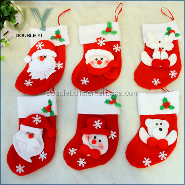 Happy New year Father Christmas santa claus bag stocking holders