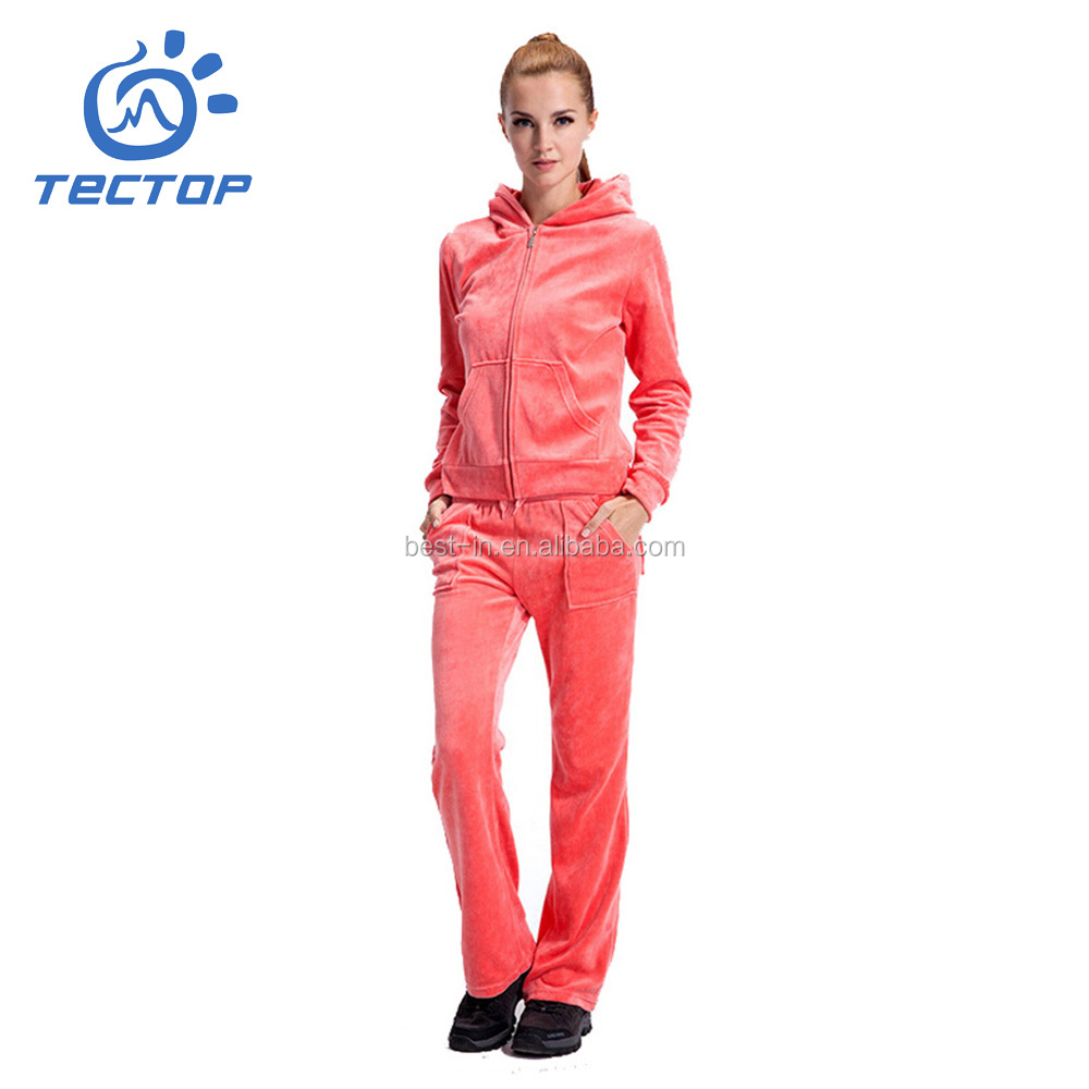 Custom Hoody Women Blank Velour Casual Suits Wholesale Sweat Suits