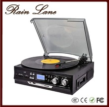 Rain Lane Portable Audio Player Retro Phonograph Record Player Wholesale With CD Casette USB SD LP Radio