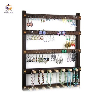 custom made wall mount hanging dangling black wooden organizer hanger earring displays wholesale mannequin jewelry stand