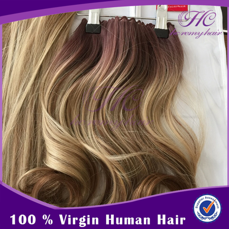 New Launched Products 20Inch Virgin Indian Micro Ring Human Hair Weft With Beads