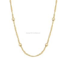 Wholesale Yiwu Alibaba Fashion Gold Singapore Chain Necklaces Bead Separate Chain Necklace