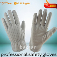 Cheaper excellent quality nylon glove pu foam with pvc dots