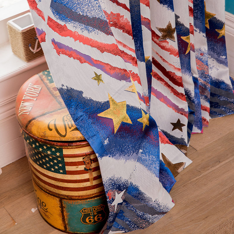 new designs star flag style stripes curtain for children