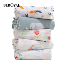 Beroyal baby muslin breathable swaddle blanket muslin cotton blanket