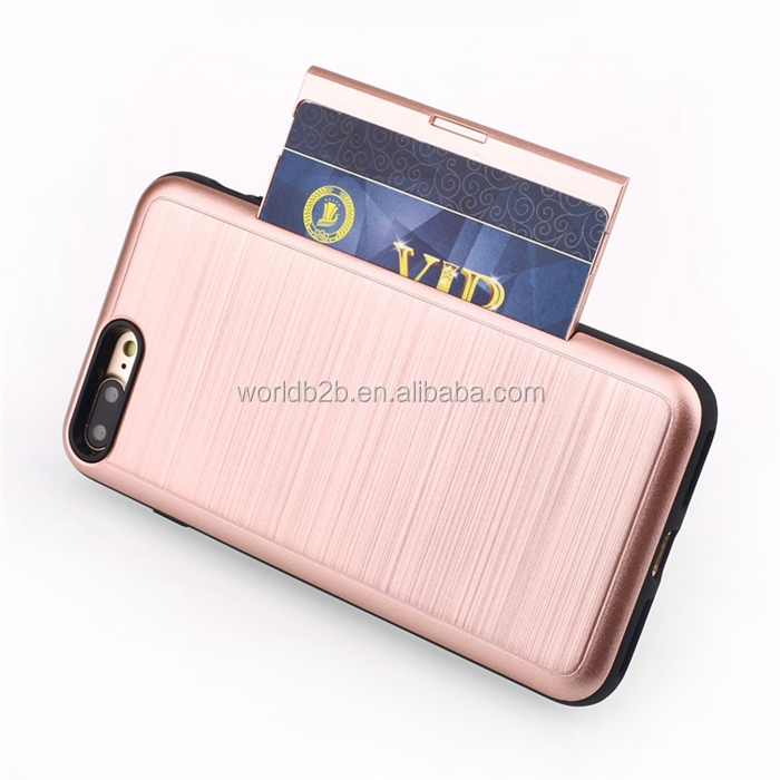 Brushed PC Protective Hidden Wallet Case with Card Holder for Apple iPhone 7