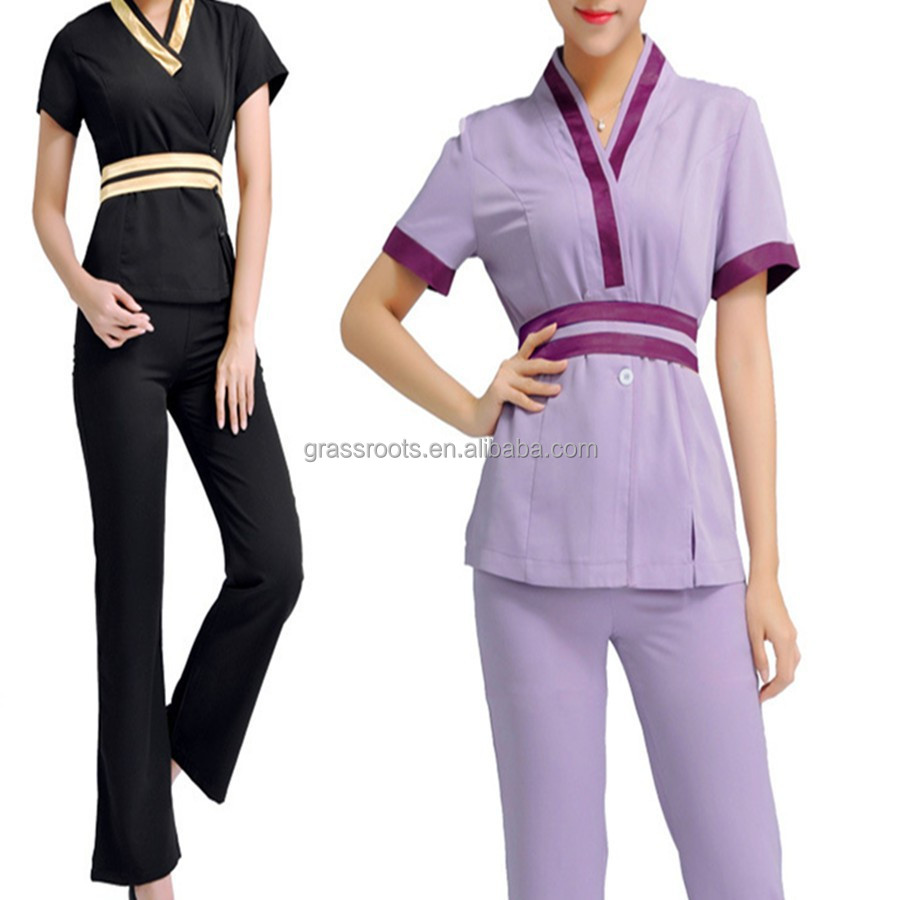 Fashion design salon women spa beautician thai spa uniform for Spa uniform indonesia