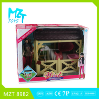 2016 New !Eco-friendly Plastic 11Inch Movable Joints Riding Barbie Girl+Horse+Rectangle Stable+Tools Toys MZT8982