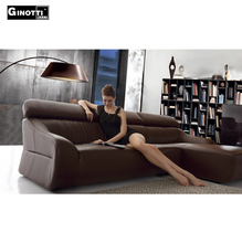 Germany style superb living room I shape brown sectional leather sofa