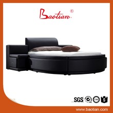 Wooden divan Modern Round shaped hydraulic storage bed king bed