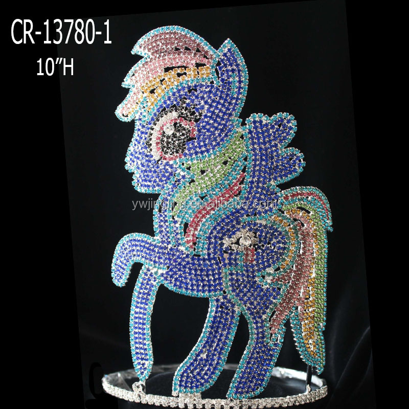 "10"" Big Rhinestone Horse Crown Pageant Pony Crowns"