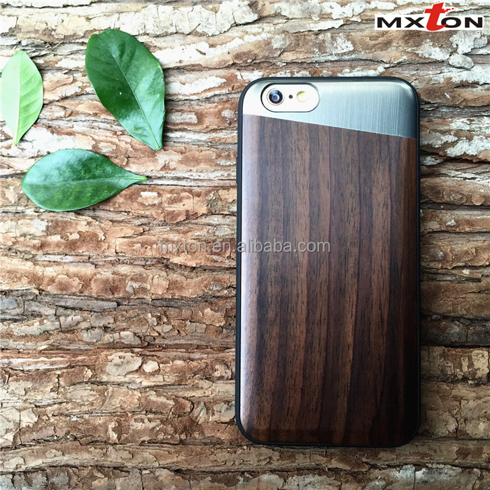 High Quality Custom Engraving Cell Phone Case Top Selling Natural Wood+Metal Mobile Phone Accessories