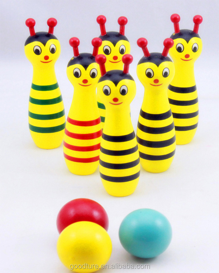 2015 Hot Sale Wooden Bees Bowling Sporting Game