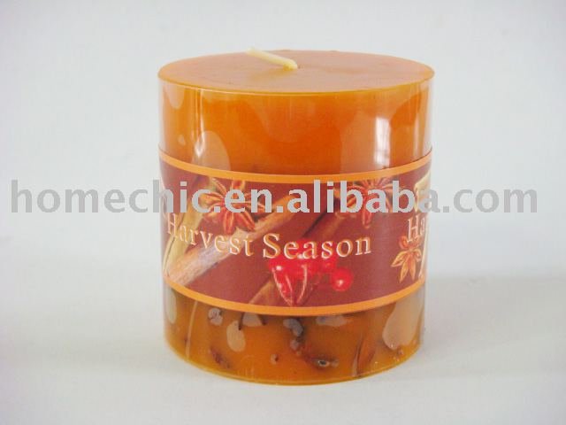 7x7cm christmas orange pillar candle