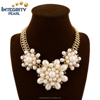 New Vintage Jewelry Accessories Resin statement big chuncky flower fake pearl princess necklace
