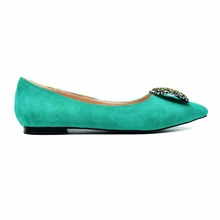 China T192-2 fashion women luxury green ladies flat shoes low heels pumps