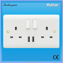 British Standard 13A 2 gang wall switched socket+(1A+2.1A) USB outlet