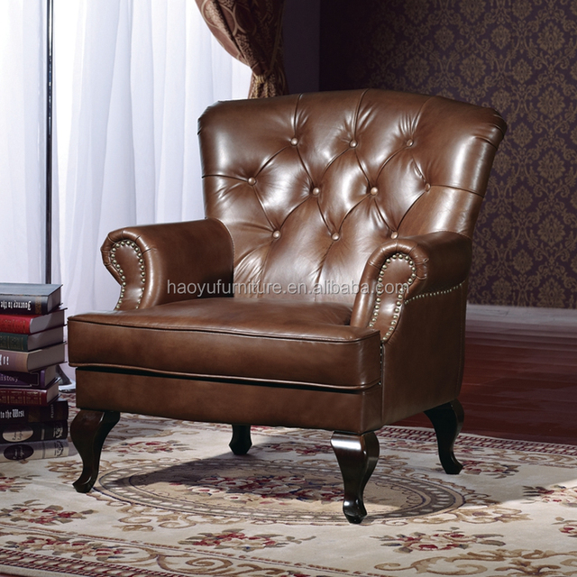 AM3015 tufted leather chair.chesterfield wingback chair