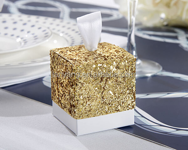 All That Glitters Gold Glitter Favor Box Wedding Gift Box New 2017
