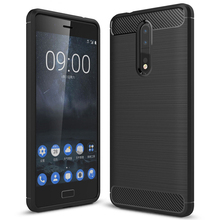 Carbon Fiber Protective Shockproof TPU Bumper Case For Nokia 8 Flexible Cover