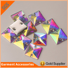 Lead Free Square Resin Stone Clear AB Color Sewing Flatback Resin Rhinestones