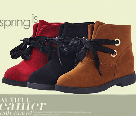 Fashion women shoes lace up low heel ankle boot sweet lady round toe martin boot winter boots