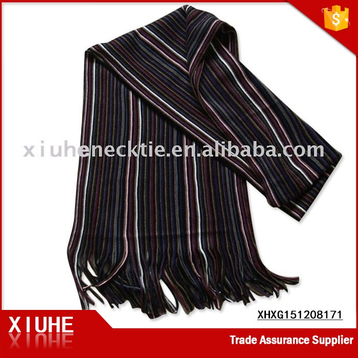 fashion polyester brushed black striped scarf