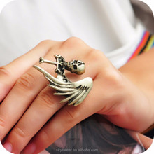 fashion skull wing cross ring,retro adjustable ring(swtaa755)