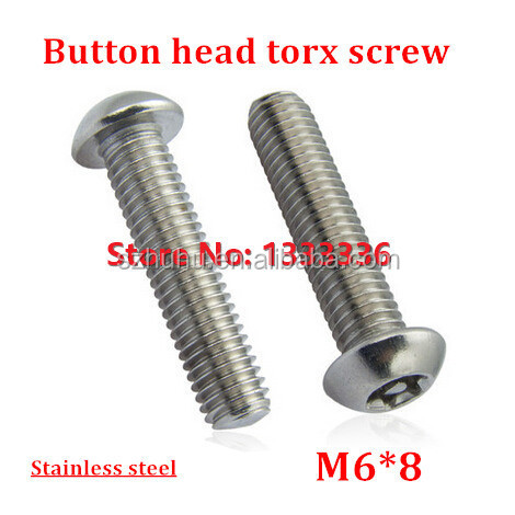 50pcs/lot M6*8 Button Head <strong>Torx</strong> <strong>Screw</strong> 6-Lobe Bolt / Security Anti-theft with Pin Pan Machine <strong>Screws</strong> SS304 with Free <strong>Torx</strong> Key
