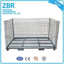 Medium duty steel wire metal storage cage galvanized stacking containers used collapsible pallet basket
