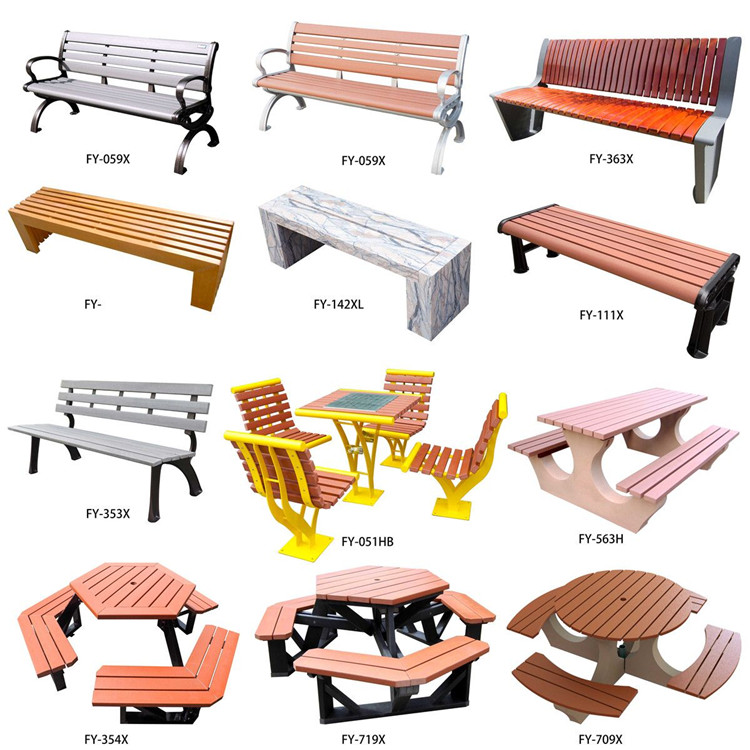 Cheap Plastic Wood carbon fiber Slats Park Bench solar smart  beach chair With Cast Aluminum Legs