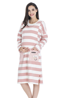 2017 Latest Design Long Sleeve Pink Striped Cute Maternity Dress with Two Pockets