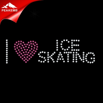 I love ice skating sports motif rhinestone transfer design for tshirts