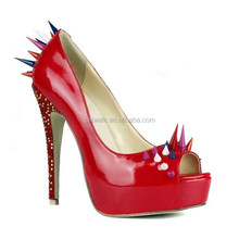 Sexy Spike Ladies High Heel Shoes/Night Club Wedges for Women Passion Red