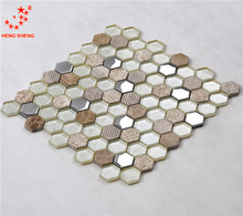 Decorative Hexagon Ceramic Wall tiles mix Stone and Glass