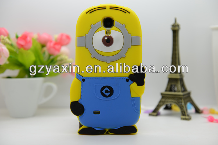 OEM Despicable Me case, Cute Cartoon Mobile phone Cover Case for S4 i9500,3d Despicable Me Minions Silicone Rubber Case For