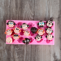 Nicole Food Grade Cute Monkey Cartoon Animals Silicone Molds For Fondant Cake Decorating,Concrete,Resin,Clay Crafts