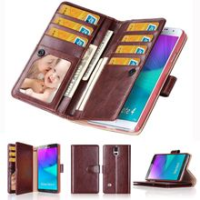Note 4 Leather Case For Samsung Galaxy Note 4 Note 3 Note 2 Multi-function Wallet Style Flip Back Magnetic Cover With Card Slots